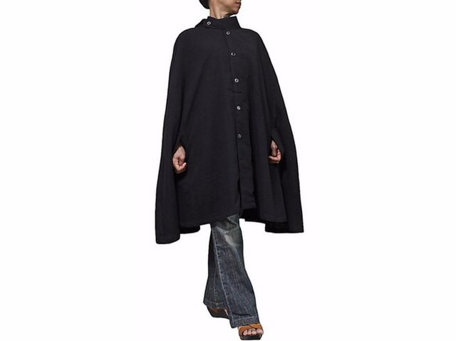 ジョムトン手織り綿マント風ポンチョジャケット 黒(JNN-055-01)の画像1枚目