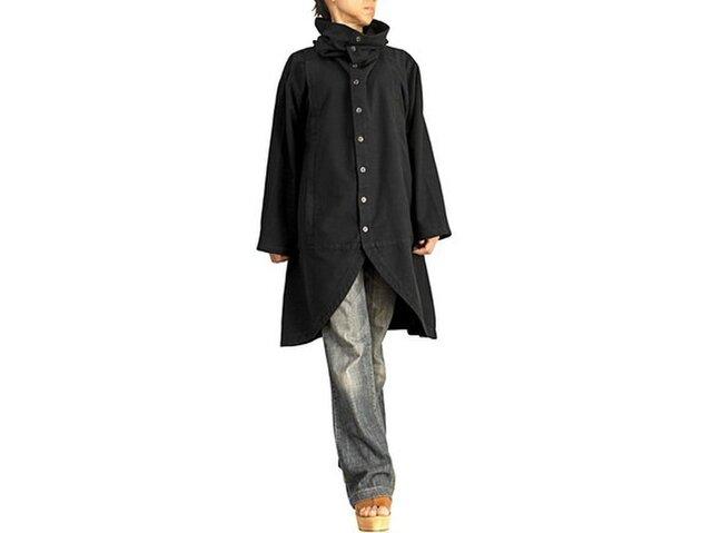 ジョムトン手織り綿のタートルボタンコート 黒(JFS-150-01)の画像1枚目