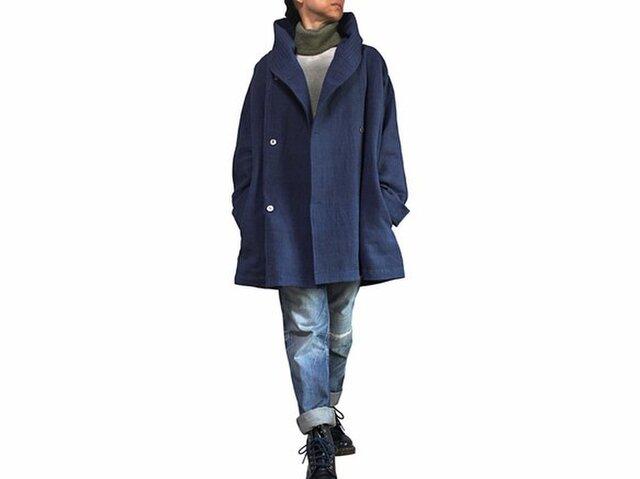 ジョムトン手織り綿ゆったりフーデッドコート インディゴ紺(JFS-148-03)の画像1枚目