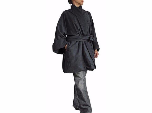 ジョムトン手織り綿和風羽織ジャケット 墨黒(JFS-126-01)の画像1枚目