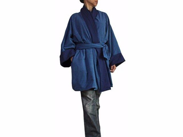 ジョムトン手織り綿和風羽織ジャケット インディゴ(JFS-126-03)の画像1枚目