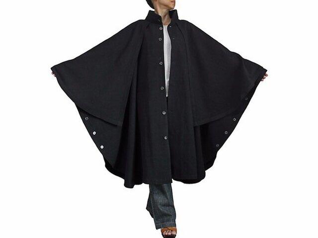 ジョムトン手織り綿ケープ付きハイネックマント 黒(JFS-130-01)の画像1枚目