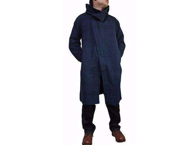 ジョムトン手織り綿フーデッドコート インディゴ紺(JFS-139-03)の画像1枚目