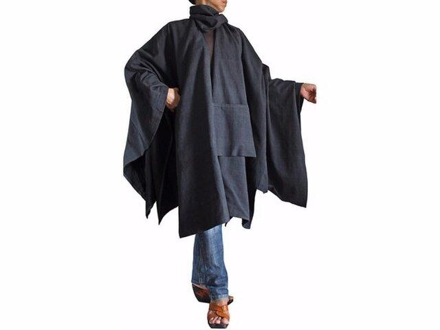 ジョムトン手織り綿虚無僧のマントコート 墨黒(JFS-110-01)の画像1枚目