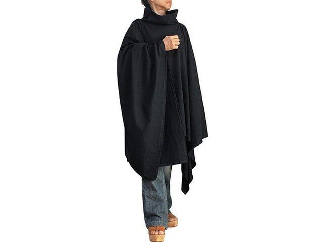 ジョムトン手織り綿纏いのポンチョ 黒 (DNN-031-01)の画像1枚目