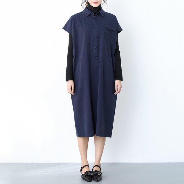 (再販)コットンリネン フレンチスリーブ シャツ襟ワンピース ♪オーダーサイズ可の画像1枚目
