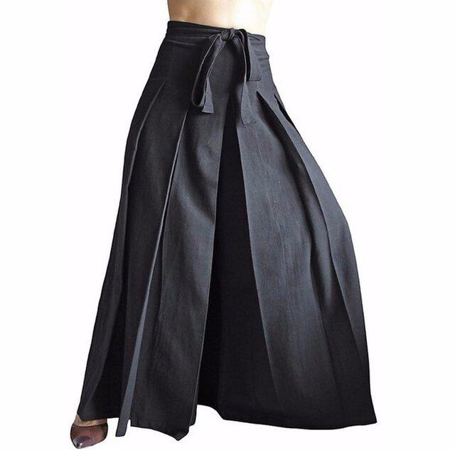 ジョムトン手織り綿の袴パンツ 黒 Mサイズ(PFS-026-01M)の画像1枚目