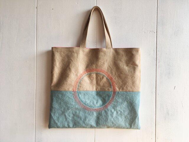 【受注製作】刺繍入りペタンコ鞄の画像1枚目