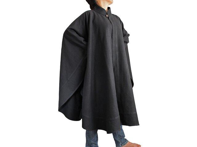 ジョムトン手織り綿チャイナケープ風マントコート 黒(JFS-047-01)の画像1枚目