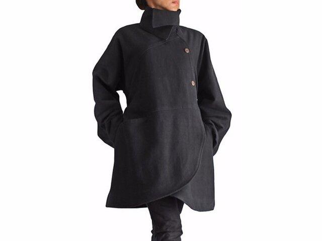 ジョムトン手織り綿ベルト付きラウンドシェイプコート 黒(JFS-091-01)の画像1枚目