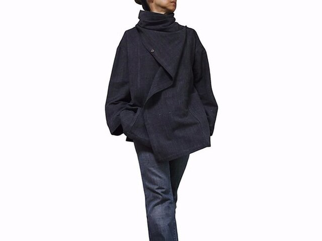ジョムトン手織り綿マント風デザインジャケット 墨黒 Mサイズ(J-029-03M)の画像1枚目