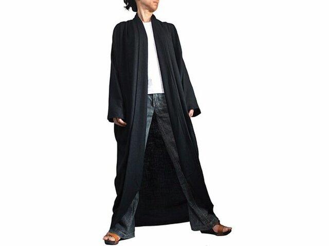 柔らかヘンプのロングコクーンコート 黒 (JNN-087-01)の画像1枚目