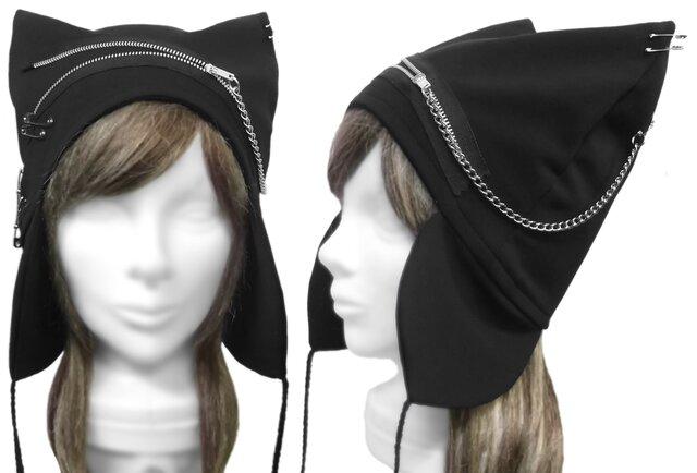 パンク[ジップ&チェーン] 耳あて付ネコ耳帽子◆コットンニット/ブラックの画像1枚目