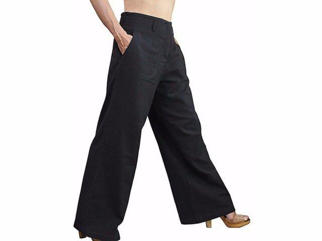 スタイルのよいジョムトン手織り綿パンツNo2 黒 (PFS-024-01)の画像1枚目