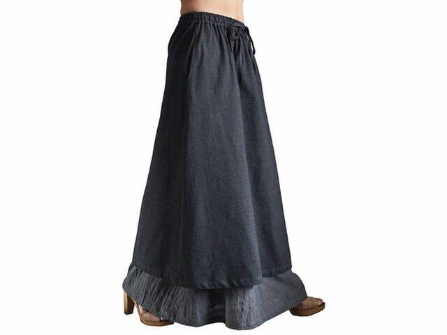 ジョムトン手織り綿ダブルスカート 墨黒 (SFS-016-01)の画像1枚目