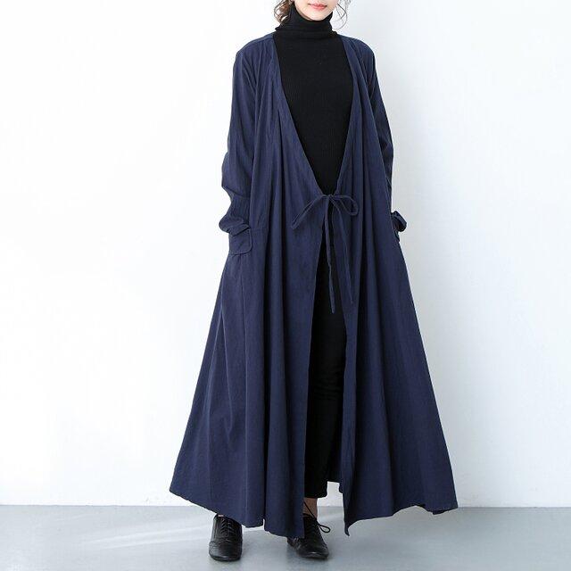 (再販×2)コットンリネン ゆったり ギャザー ロングコート ♪オーダーサイズ可の画像1枚目