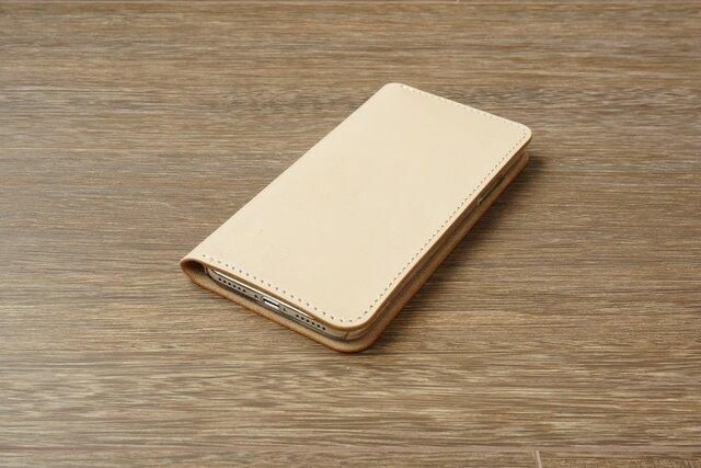 牛革 iPhoneXRカバー  ヌメ革  レザーケース  手帳型  ナチュラルカラーの画像1枚目