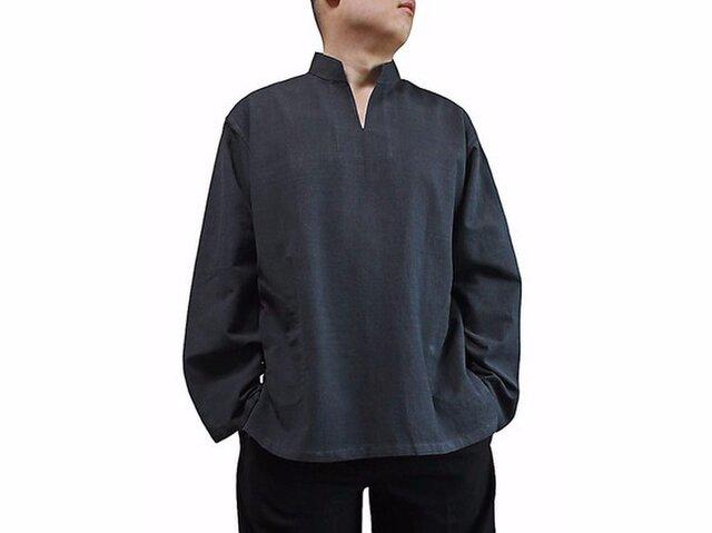 ジョムトン手織り綿のスタンドカラークルター 墨黒 (BFS-143-01)の画像1枚目