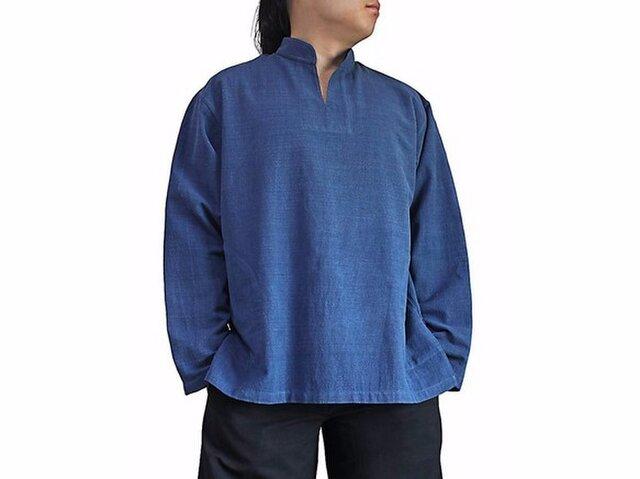 ジョムトン手織り綿のスタンドカラークルター インディゴ (BFS-143-03)の画像1枚目