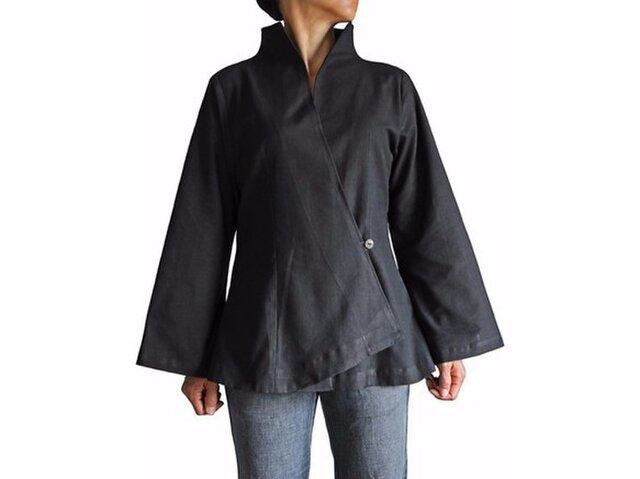 ジョムトン手織り綿オリエンタルカシュクールブラウス 黒 (BNN-084-01)の画像1枚目