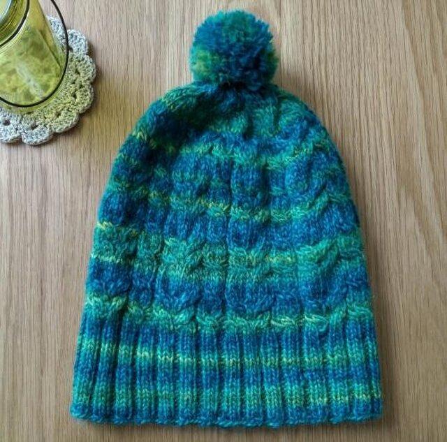 【sale!】アラン模様のニット帽子*明るいブルー/グリーンの画像1枚目