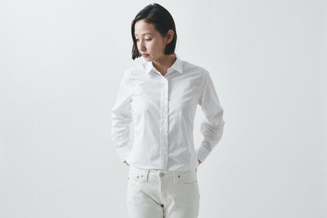 【SALE】HANDROOM WOMEN's スーピマコットンシャツ(ホワイト)の画像1枚目