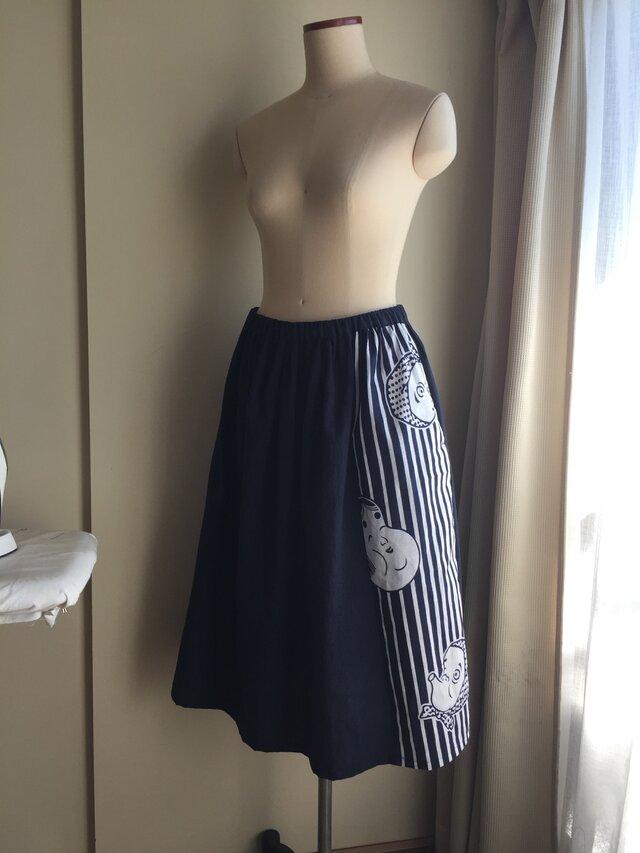 ひょっとこ&おかめギャザースカート(無地ネイビー)の画像1枚目