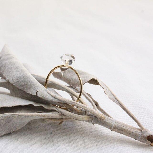 【Reserved】Herkimer Diamond Ring ハーキマーダイヤモンドのシンプルリング Vermeilの画像1枚目