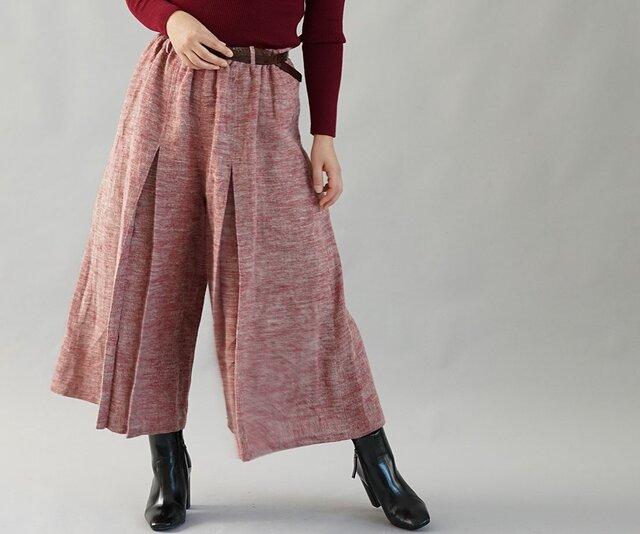 【wafu】厚地 柔らかい 暖かい 起毛 リネン 袴(はかま)ワイドパンツ ウエストゴム ポケット付/茜色 b002b-aki3の画像1枚目