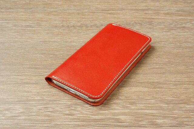 牛革 iPhoneXRカバー  ヌメ革  レザーケース  手帳型  レッドカラーの画像1枚目