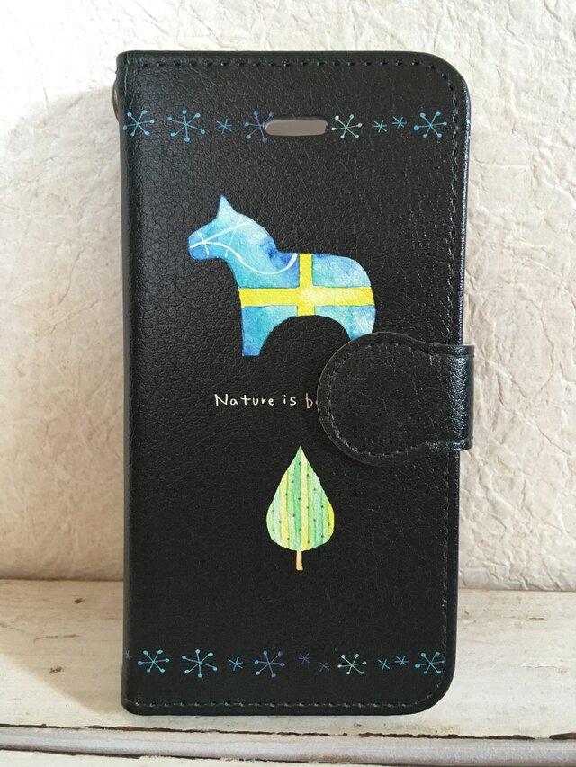 「美しい北欧」黒/ iPhone & Android対応 手帳型スマホケース <受注制作・送料無料>の画像1枚目