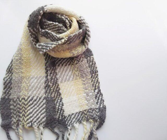 【ホームスパン】 ふっくら手紡ぎウールとアルパカのミニマフラー 301の画像1枚目