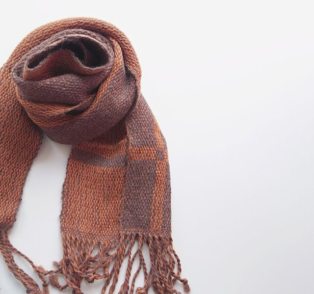 手織り 昼夜織りアルパカマフラー  133の画像1枚目