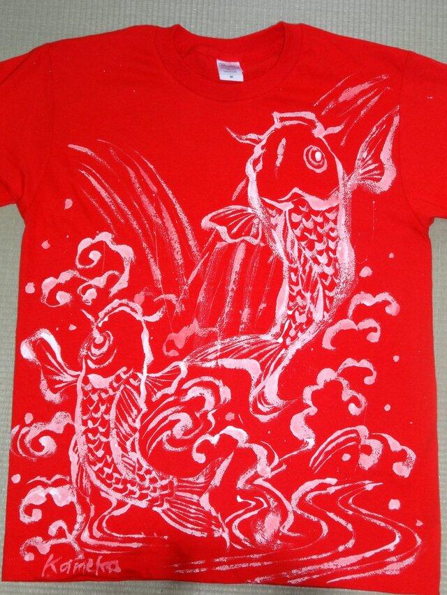 カープ 登り鯉 野球応援グッズ Tシャツ 一点物の画像1枚目