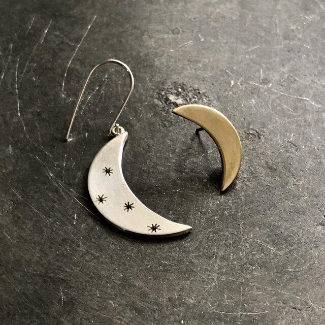 Moon Star アシンメトリー ピアス/ silver金具タイプの画像1枚目