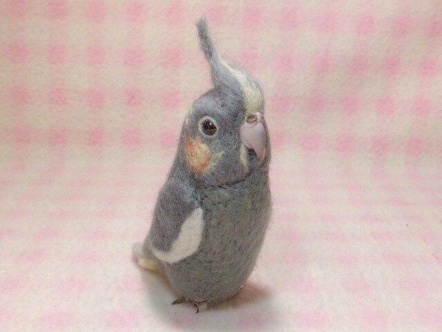 オカメインコ ノーマル ♀ mini♪☆選べる2タイプ☆ クリップ付ブローチorマグネット 羊毛フェルトの画像1枚目