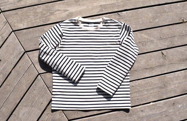 16番手双糸 マリンボーダー クルーネック ロングTシャツの画像1枚目