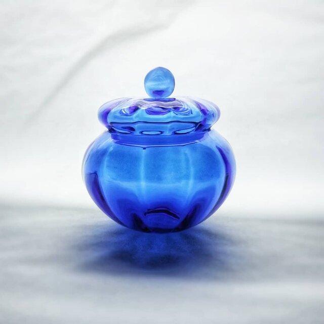 コバルトブルーのガラスキャニスターの画像1枚目