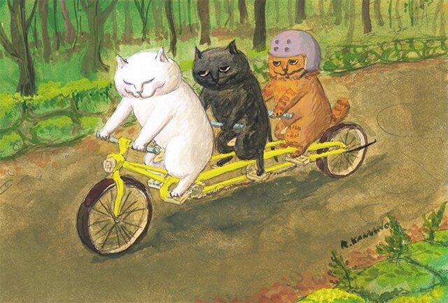 カマノレイコ オリジナル猫ポストカード「高原サイクリング」2枚セットの画像1枚目
