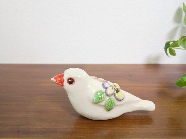 花小鳥/大 白文鳥(陶器)の画像1枚目