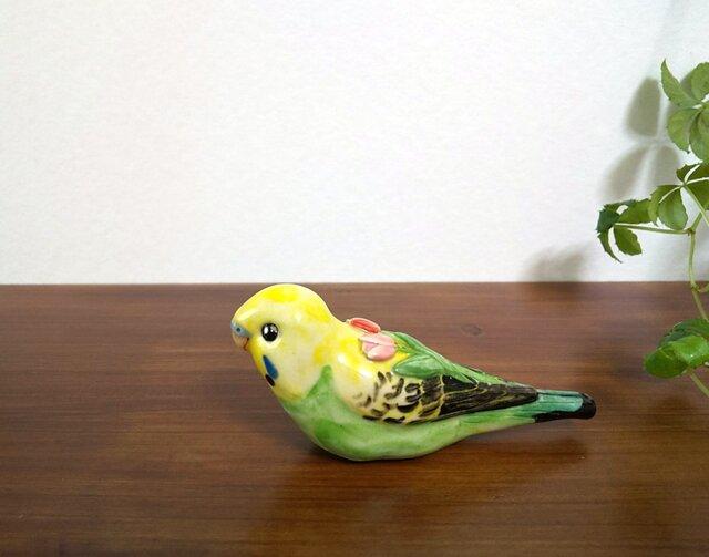 花小鳥/大 セキセイインコ(陶器)の画像1枚目