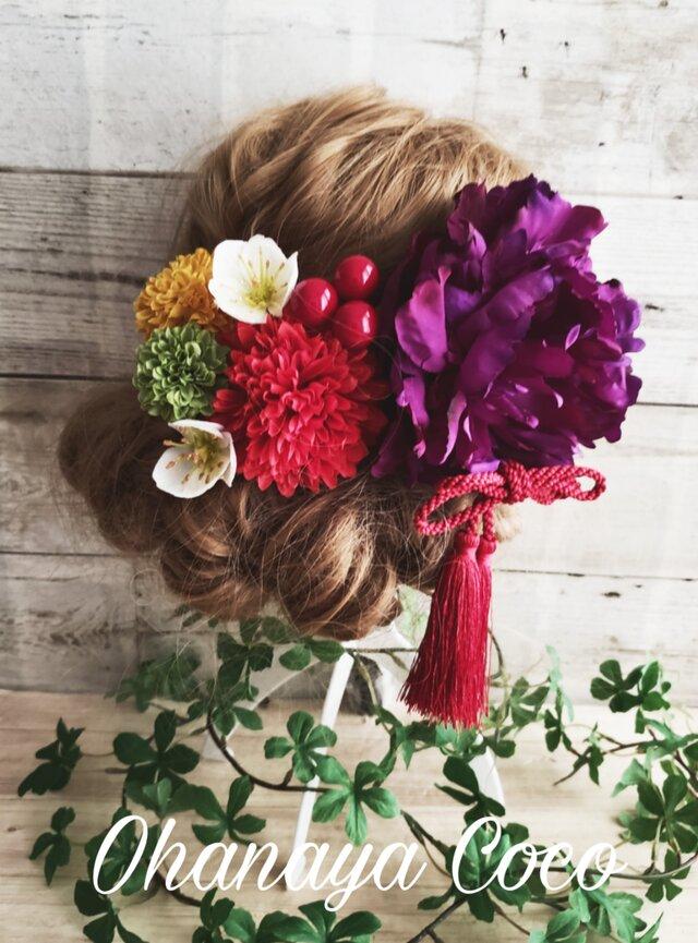 魅惑の紫芍薬の髪飾り8点Set No324の画像1枚目