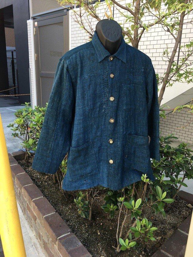 古布のダメージを使ったシャツジャケットメンズL寸相当送料無料の画像1枚目
