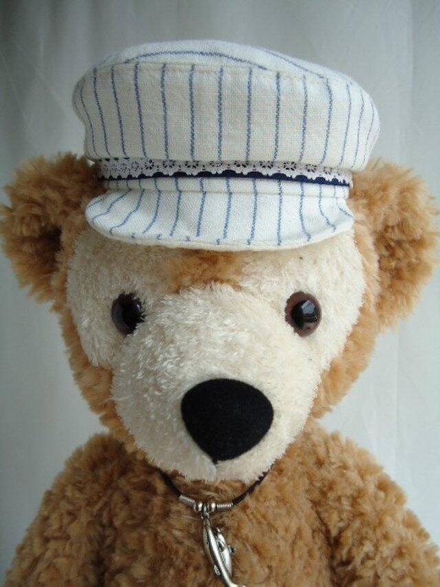 ダッフィー帽子 キャスケット(白×ブルー)の画像1枚目