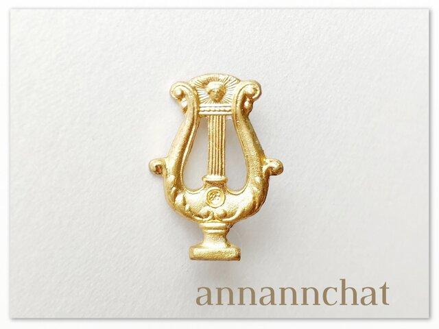 【アンティック ギリシャハープ 約28mm ピンブローチ】竪琴 リラ アンティーックの画像1枚目