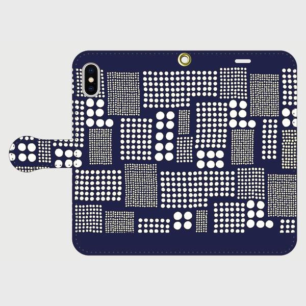 北欧テイスト パッチワーク ドット(ネイビー) iphone 5/5s/6/6s/SE/7/8/X/XS 専用 手帳型ケースの画像1枚目