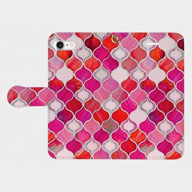 グラスタイル アラベスクパターン(ホリデーレッド) iphone 5/5s/6/6s/SE/7/8/X/XS 専用手帳型の画像1枚目