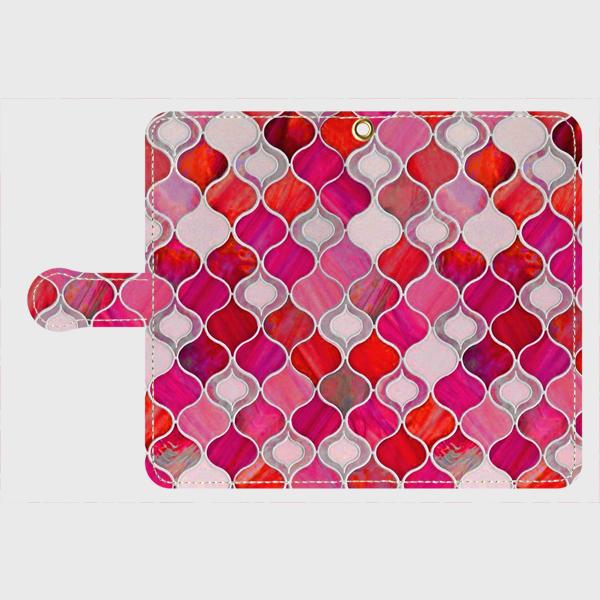 グラスタイル アラベスクパターン(ホリデーレッド) xperia、galaxy 等多機種対応手帳型 スマホケース の画像1枚目