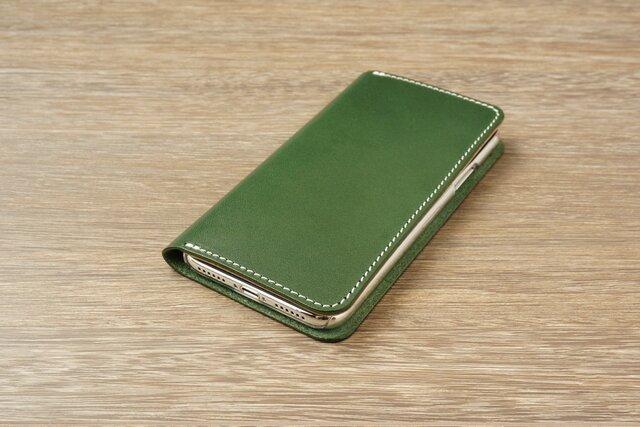 牛革 iPhoneXRカバー  ヌメ革  レザーケース  手帳型  グリーンカラーの画像1枚目