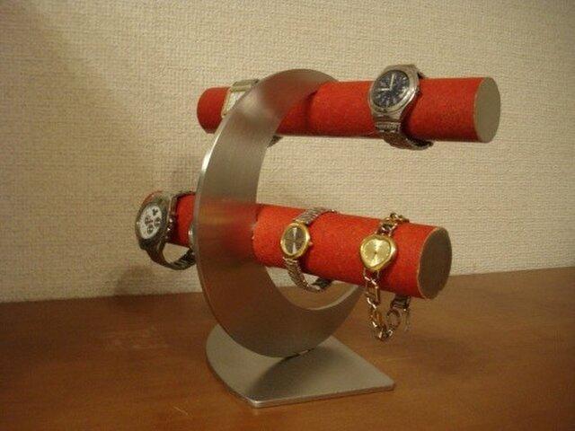 クリスマスに レッド丸パイプ三日月8本掛け腕時計スタンドの画像1枚目